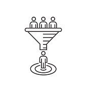 Sales funnel vector line icon. Internet marketing conversion concept.