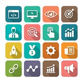 Internet Marketing Flat Icon Set