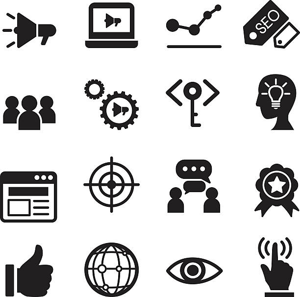 internet-marketing-symbol set - schlüsselkasten stock-grafiken, -clipart, -cartoons und -symbole
