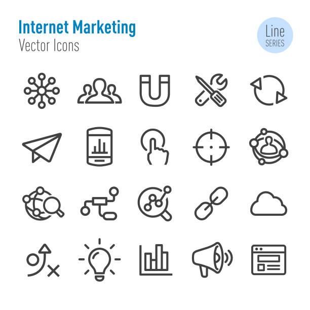 Internet Marketing Icon - Vector Line Series Internet Marketing, spreading stock illustrations