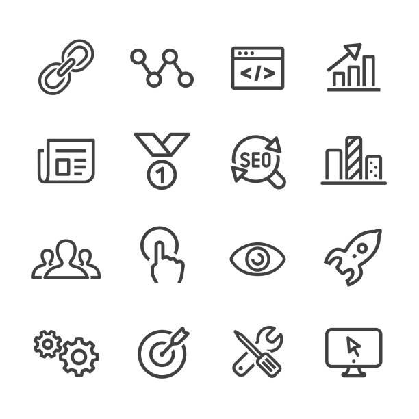 stockillustraties, clipart, cartoons en iconen met internet marketing icons - line serie - schakel