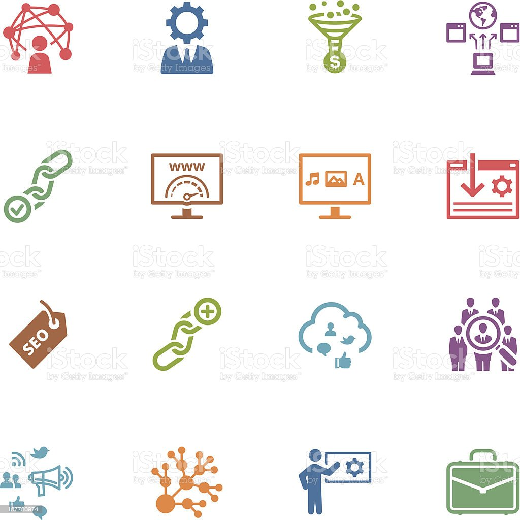 SEO & Internet Marketing Icons - Set 2 | Colored series royalty-free stock vector art