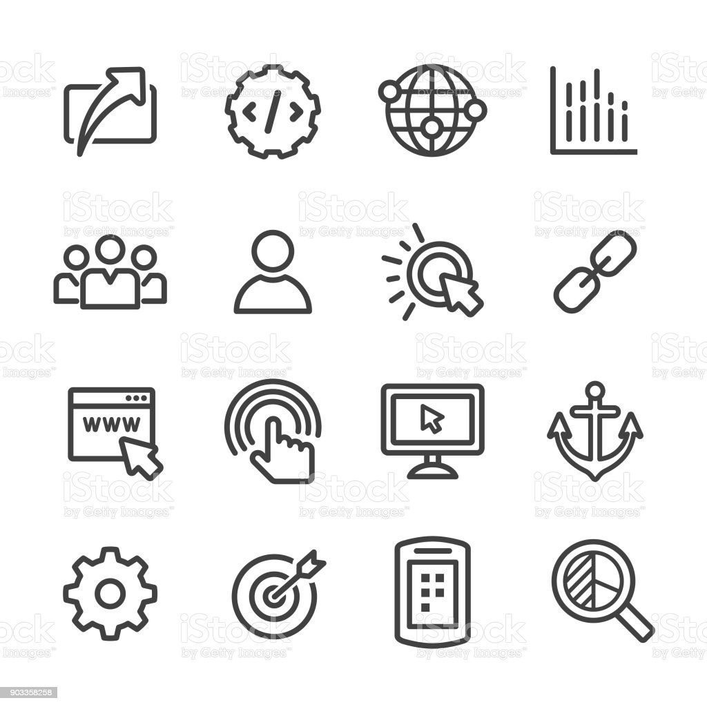 Internet-Marketing-Icons Set - Line Serie - Lizenzfrei Analysieren Vektorgrafik