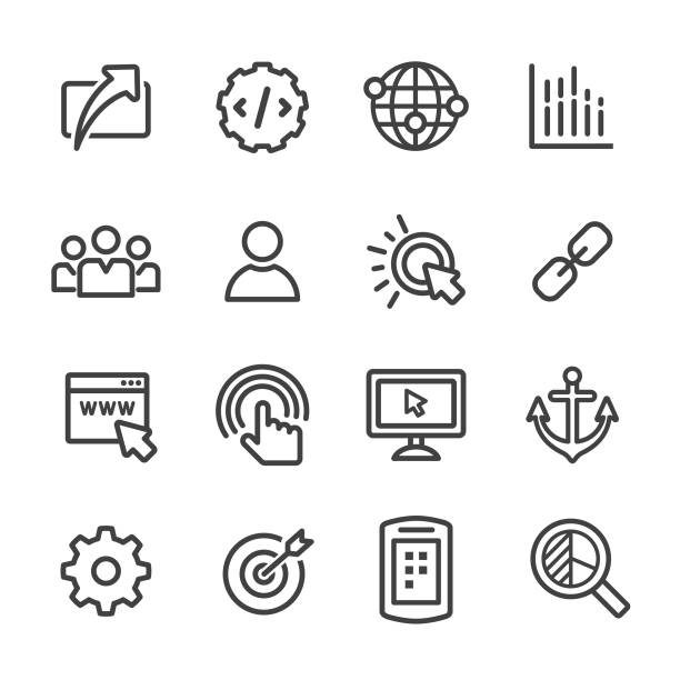 Internet-Marketing-Icons Set - Line Serie – Vektorgrafik
