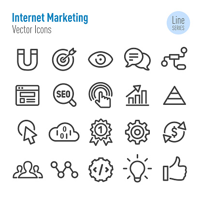 Internet Marketing Icons Set - Vector Line Series