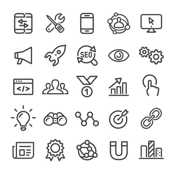 stockillustraties, clipart, cartoons en iconen met internet marketing icons - slim line serie - schakel