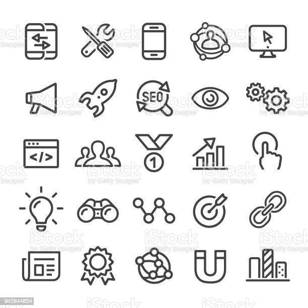 Internet Marketing Icons Serie Smart Line Stock Vektor Art und mehr Bilder von Analysieren