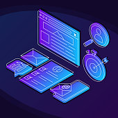 Internet marketing isometric color vector illustration. Search optimization linear icons infographic. SEO strategy. Website ranking 3d concept. Online analytics web design on purple background