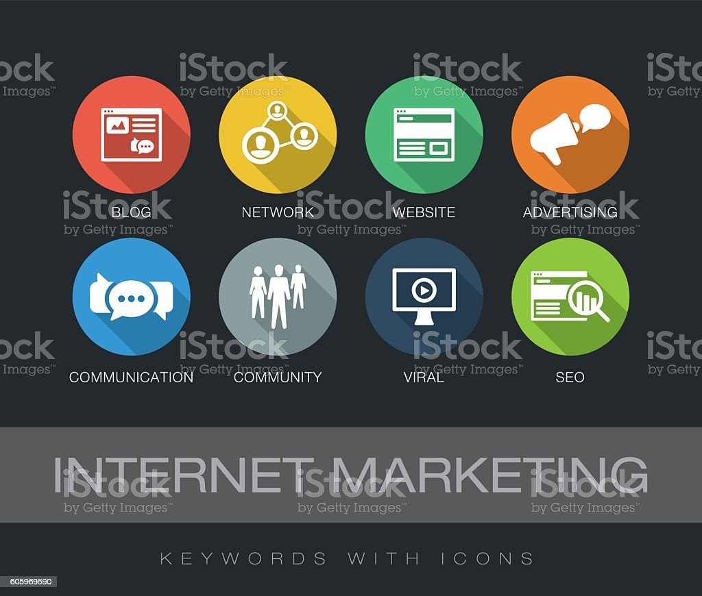 Internet Marketing keywords with icons vector art illustration