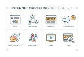 Internet Marketing chart with keywords and line icons