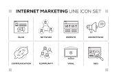 Internet Marketing keywords with monochrome line icons