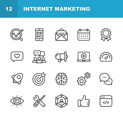 Vetores de Ícones De Linha Do Internet Marketing Editável Acidente Vascular Cerebral Pixelperfeito Para Mobile E Web Contém Ícones Como Estratégia De Marketing Digital Mídias Sociais Marketing Brainstorming Partilha E Comentando e mais imagens de Alvo