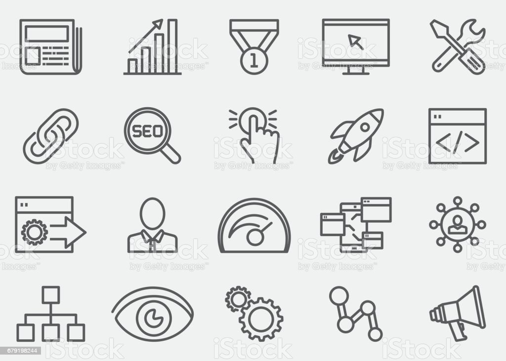 Internet Marketing Line Icons | EPS 10 vector art illustration