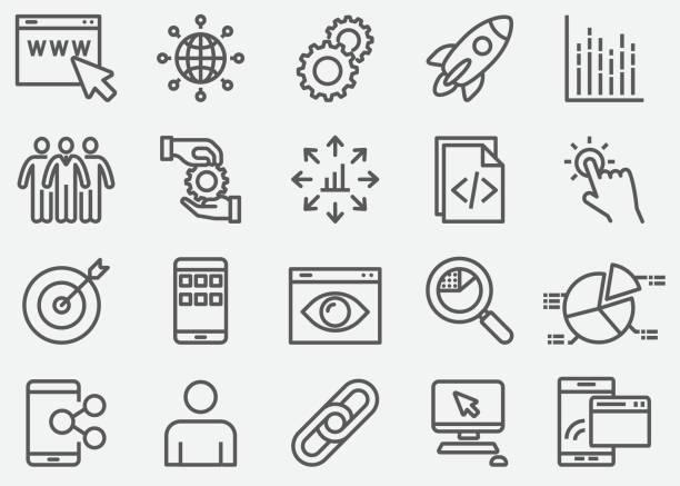 stockillustraties, clipart, cartoons en iconen met internet marketing lijn pictogrammen - schakel