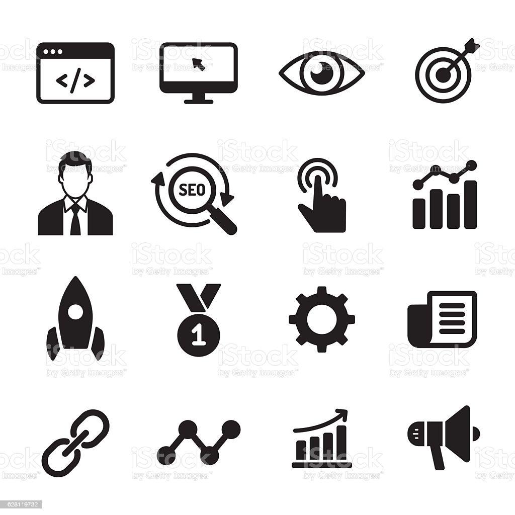 Internet Marketing monochrome icons vector art illustration
