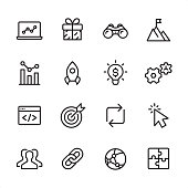 16 line black on white icons / Set #70 Pixel Perfect Principle - all the icons are designed in 48x48pх square, outline stroke 2px.  First row of outline icons contains:  Laptop, Gift, Binoculars, To the Top;  Second row contains:  Analyzing, Start Up, Solution, Gears;  Third row contains:  Web Page, Target, Update, Cursor;   Fourth row contains:  Group of People, Link, Computer Network, Puzzle.  Complete Inlinico collection - https://www.istockphoto.com/collaboration/boards/2MS6Qck-_UuiVTh288h3fQ