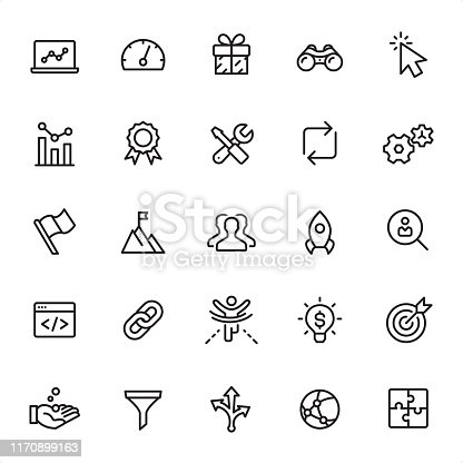 Internet Marketing - 25 Outline Style - Single black line icons - Pixel Perfect / Pack #60 / Icons are designed in 48x48pх square, outline stroke 2px.  First row of outline icons contains: Laptop, Gauge, Gift, Binoculars, Cursor;  Second row contains: Analyzing, Award, Settings, Update, Gears;  Third row contains: Flag, To the Top, Group of People, Start Up, Searching;  Fourth row contains: Web Page, Link, Winning, Light Bulb, Target;  Fifth row contains: Savings, Funnel, Decision, Computer Network, Module.  Complete Grandico collection - https://www.istockphoto.com/collaboration/boards/FwH1Zhu0rEuOegMW0JMa_w