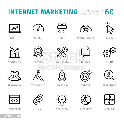 Internet Marketing - 20 Outline Style - Single line icons with captions / Set #60 Designed in 48x48pх square, outline stroke 2px.  First row of outline icons contains: Laptop, Gauge, Gift, Surveillance, Click;  Second row contains: Analyzing, Award, Settings, Update, Gears;  Third row contains: Teamwork, To the Top, Start Up, Target, Searching;  Fourth row contains: Web Page, Link, Solution, Internet, Module.  Complete Signico collection - https://www.istockphoto.com/collaboration/boards/VT_7sDWo80OLh7foVxchBQ