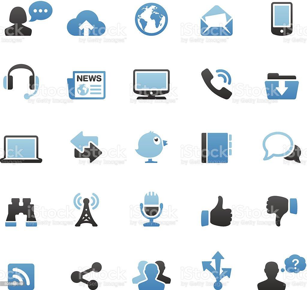 Internet Media icons set vector art illustration