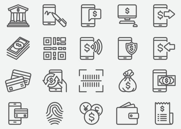 internet mobile banking line icons - bank stock illustrations