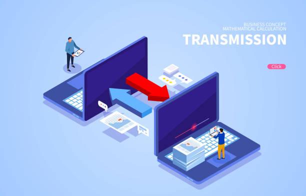Übertragung von Internetnetzwerkdateien untereinander – Vektorgrafik