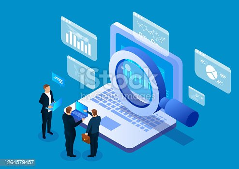istock Internet network search technology, business people use magnifying glass to search on laptops 1264579457