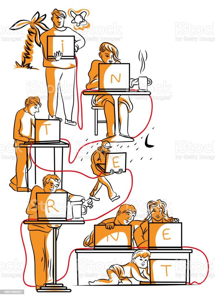 Internet ağ. vektör sanat illüstrasyonu