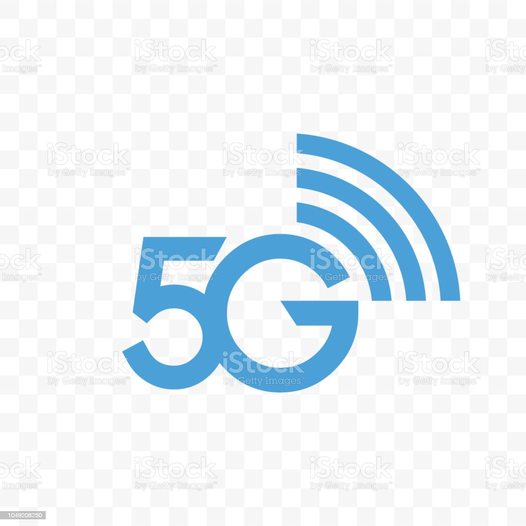 5G internet network vector logo. Isolated icon for 5 G mobile net or wireless high speed connection and data transmission technology and smartphone UI app design vector art illustration
