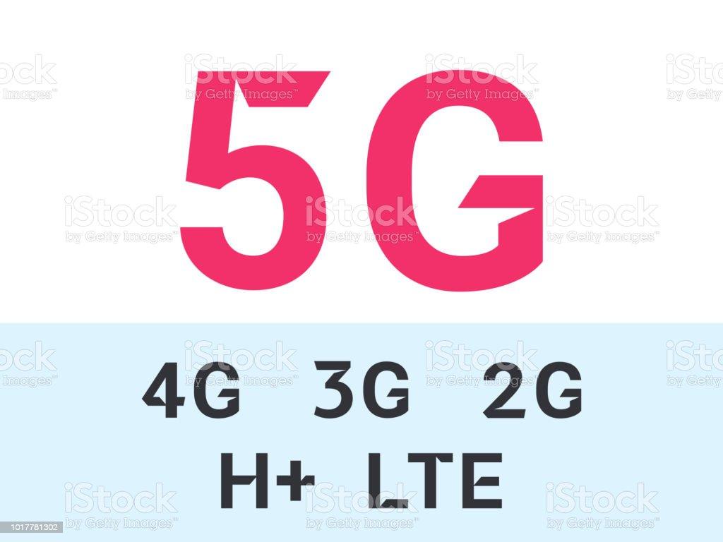 5G internet network vector logos for high speed LTE 4G, 3G or 2G and H mobile net technology and smartphone UI app design vector art illustration