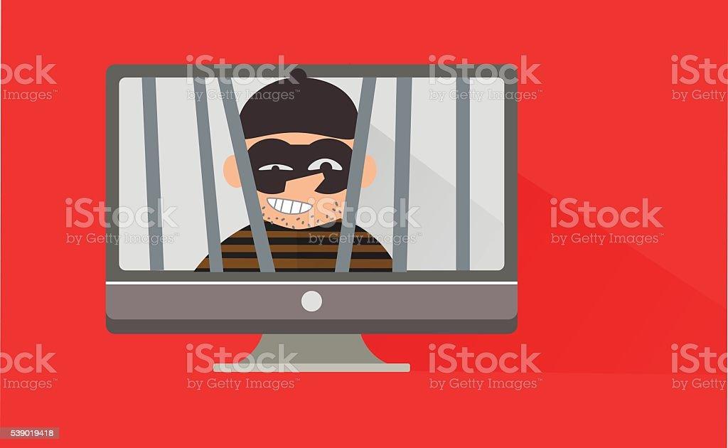 internet of thief vector art illustration