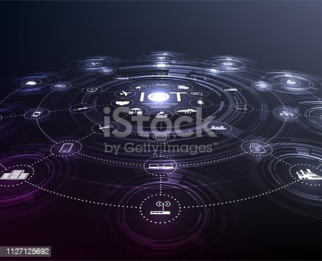 istock Internet of things (IoT) and networking concept for connected devices. Spider web of network connections 1127125692