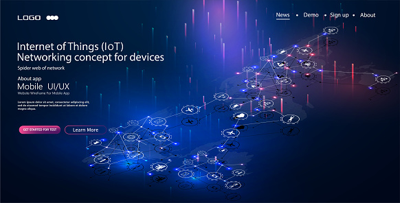 613881746 istock photo Internet of things (IoT) and networking concept for connected devices. Spider web of network connections with on a futuristic blue 1137735892