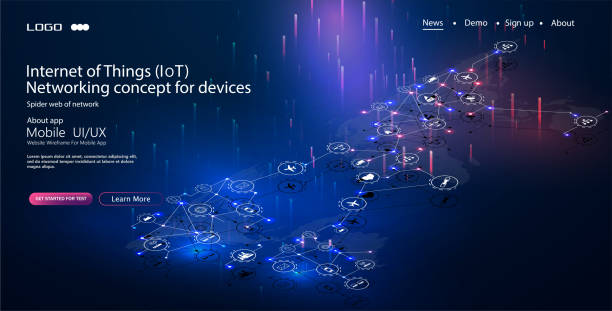 internet of things (iot) and networking concept for connected devices. spider web of network connections with on a futuristic blue - industry infographics stock illustrations