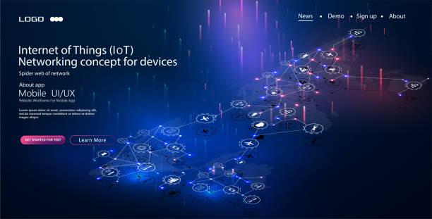 ilustraciones, imágenes clip art, dibujos animados e iconos de stock de internet de las cosas (iot) y el concepto de redes para dispositivos conectados. telaraña de conexiones de red con un futurista azul - infografías de industria