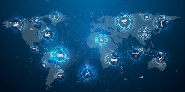 872670560 istock photo Internet of things (IoT) and networking concept for connected devices. Spider web of network connections with on a futuristic blue background. Information technology. Mobile connection, communication 1217172480
