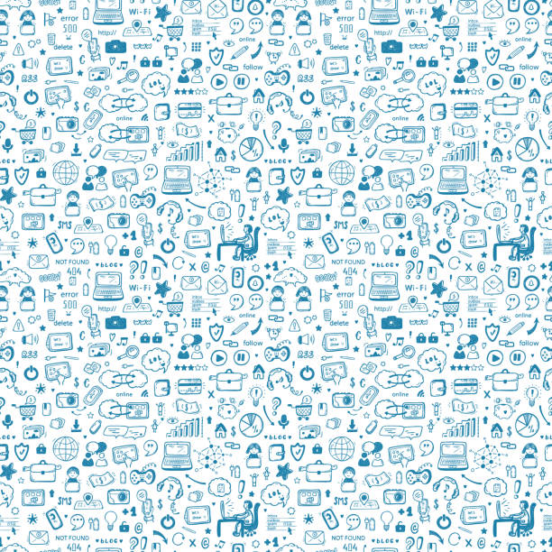 ilustrações de stock, clip art, desenhos animados e ícones de internet of things background. hand drawn doodle cloud computing technology and social media icons vector seamless pattern - man joystick