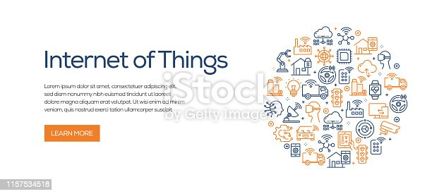 Internet of Things Banner Template with Line Icons. Modern vector illustration for Advertisement, Header, Website.