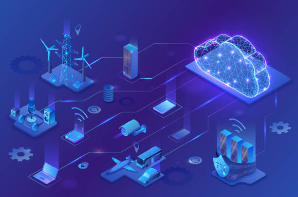 Internet of things cloud infographic, neon blue isometric 3d illustration with smart technology icons, computer network, night glowing background vector art illustration