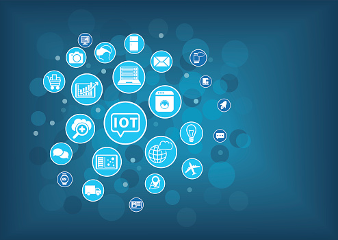 Iot Internet Of Things Concept Blurred Background With ...