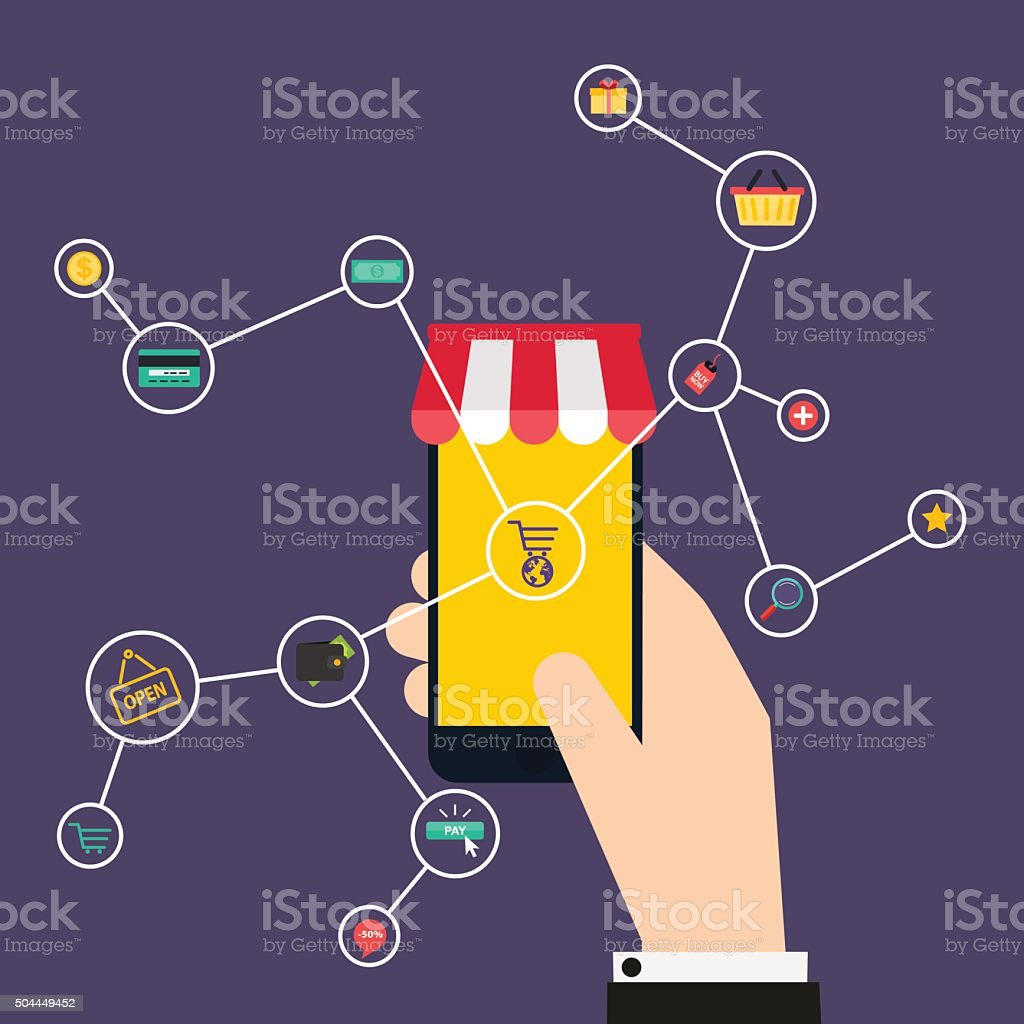 Internet of Things concept. Shopping icons. Hand holding a smart vector art illustration