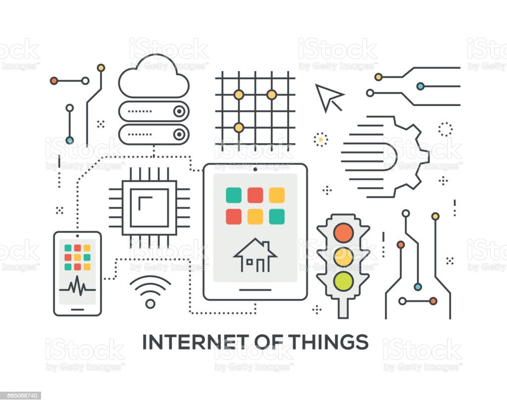 Internet of Things Concept with icons vector art illustration