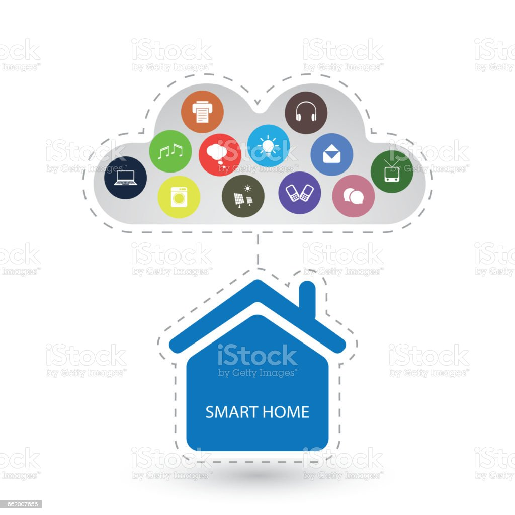 Internet Of Things Design Concept With House and Icons royalty-free internet of things design concept with house and icons stock vector art & more images of blue