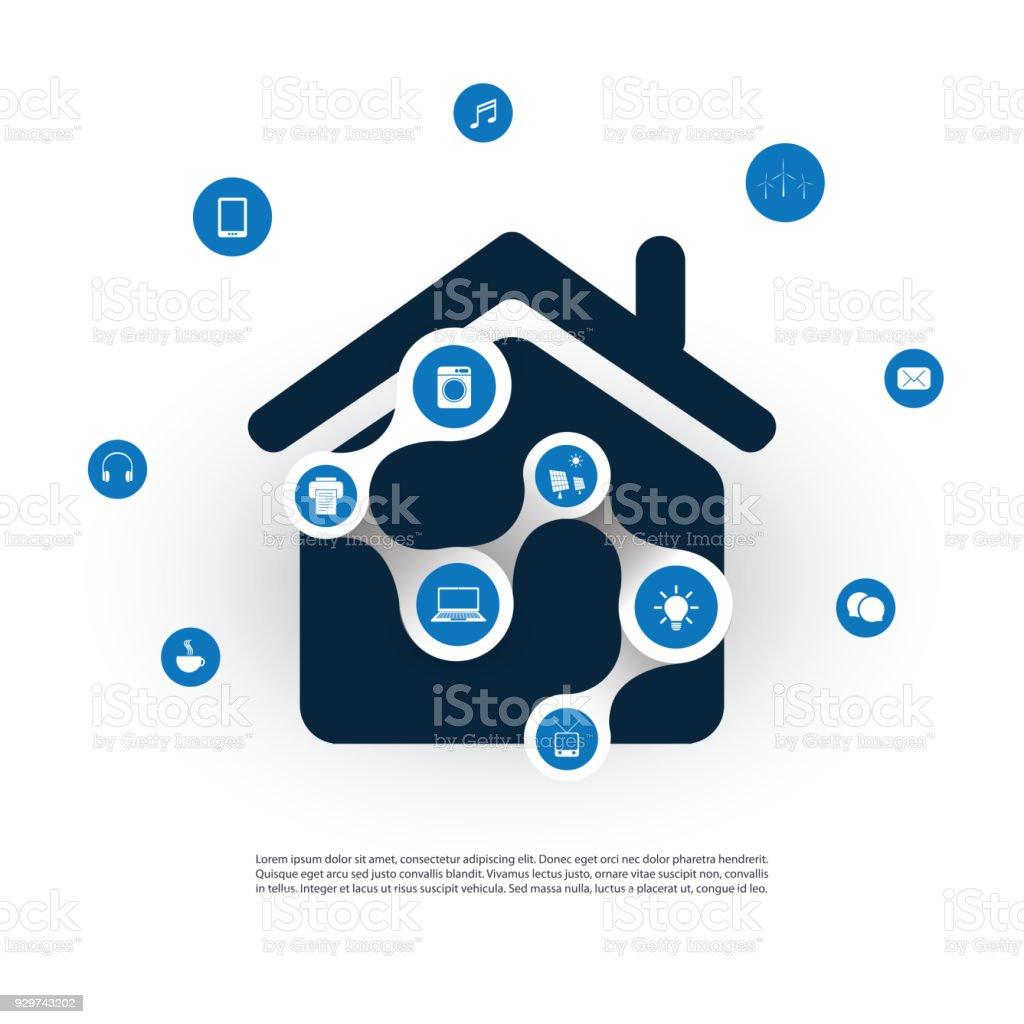 Internet Der Dingedesignkonzept Mit Haus Und Symbole Stock Vektor ...
