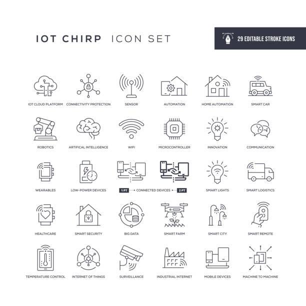 internet der dinge editierbare strichliniensymbole - smart stock-grafiken, -clipart, -cartoons und -symbole