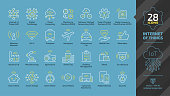 Internet of things editable stroke outline icon set on a blue background with wireless network cloud computing digital IoT technology, smart car, home, city, industry and agriculture future sign.