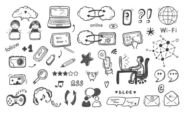 モノのインターネット。手描き落書きクラウドコンピューティング技術とソーシャルメディアのアイコンベクトルセット - ゲーム ヘッドフォン点のイラスト素材/クリップアート素材/マンガ素材/アイコン素材