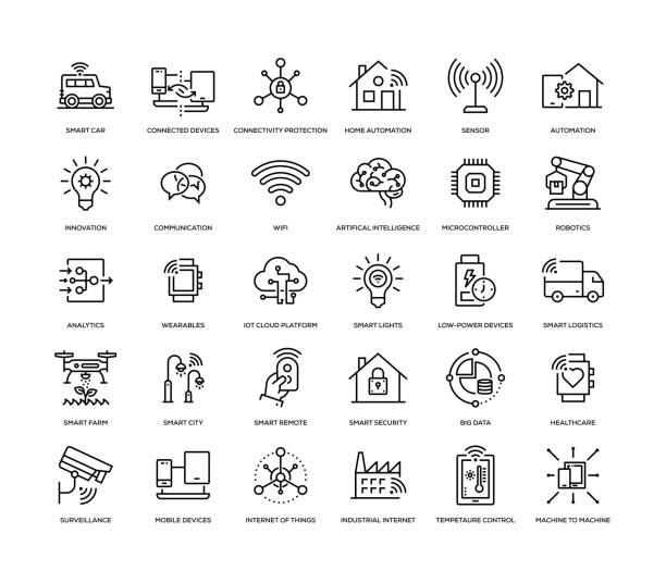 internet of things icon set - konstrukcja budowlana stock illustrations