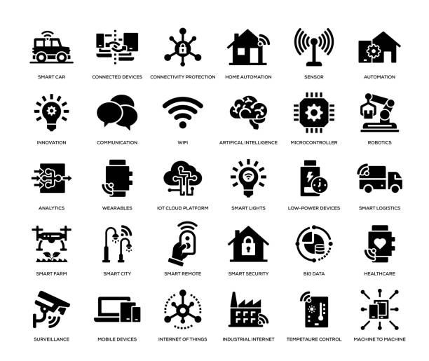 internet der dinge icon set - internet der dinge stock-grafiken, -clipart, -cartoons und -symbole