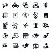 A set of Internet of Things (IoT) icons. The icons focus on the consumer IoT devices specifically those associated with home living. They include a security camera, car, lighting, smart phone controls, refrigerator, computer, kitchen appliances, door locks, wearable technology, sprinkler, security, garage door, thermostat and television to name a few.
