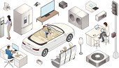The Internet of Things includes transportation, household and communication devices connected to the world wide web. Detailed isometric illustration available in EPS and JPEG.